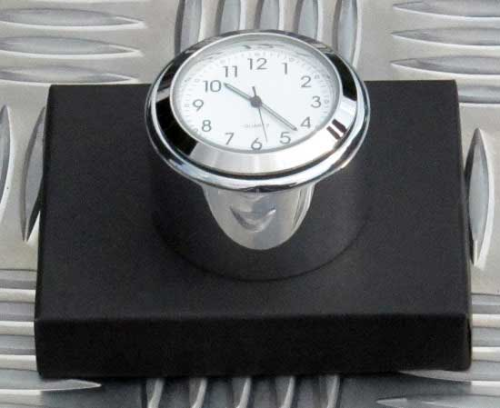 British Made Smooth Triumph Bonneville® or Thruxton Billet Stem Nut Cover with White Clock