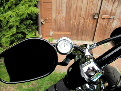 British Made 13mm Mirror-Mate Motorcycle Mirror Stem Casing with White Thermometer