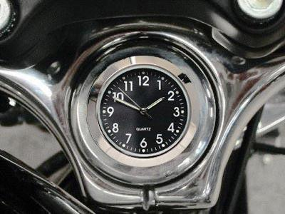 British Made Harley Sportster® / Dyna® Stem Nut Cover with Black Clock