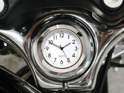 British Made Harley Sportster® / Dyna® Stem Nut Cover with White Clock