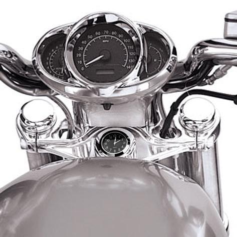 British Made Harley V-Rod® Stem Nut Cover with Black Clock
