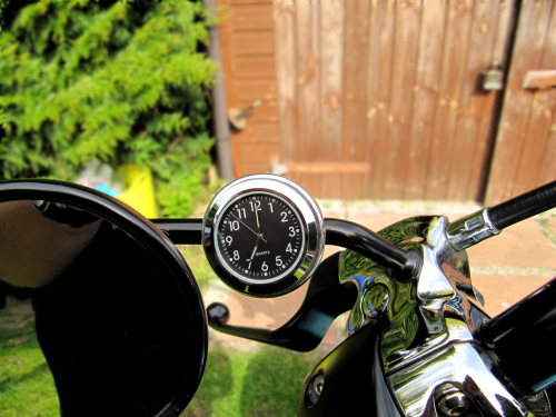 British Made 10mm Mirror-Mate Motorcycle Mirror Stem Casing with Black Clock