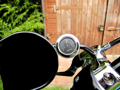 British Made 13mm Mirror-Mate Motorcycle Mirror Stem Casing with Black Thermometer