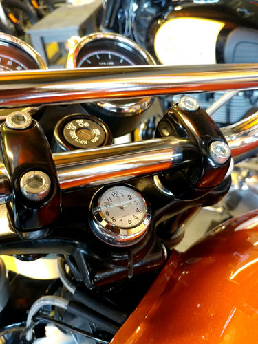 British Made Royal Enfield Interceptor and Continental GT Stem Nut Cover with White Clock