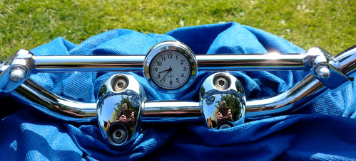 British Made Royal Enfield Interceptor Brace-Bar Clock Cover with White Clock