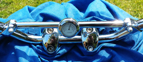 British Made Royal Enfield Interceptor Brace-Bar Cover with White Thermometer