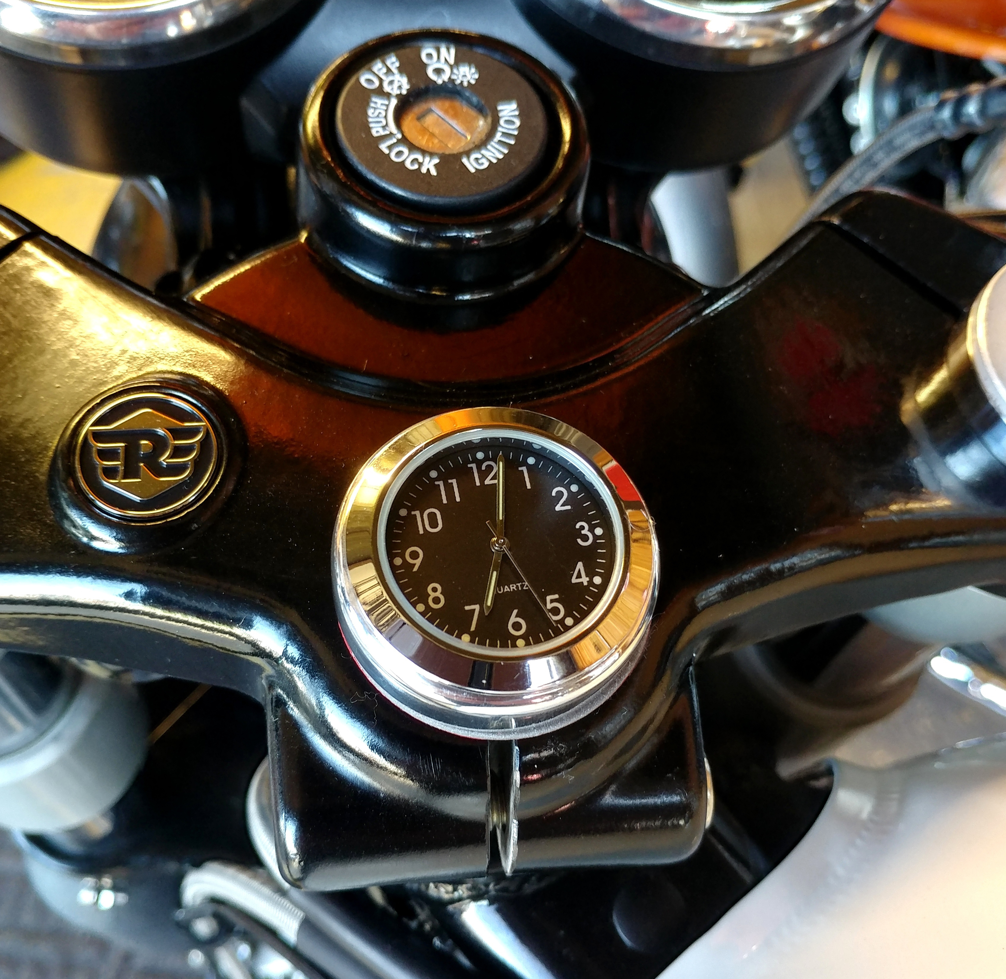 British Made Royal Enfield Interceptor and Continental GT Stem Nut Clock